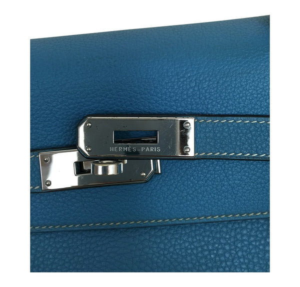 Hermes Kelly 35 Blue Jean Used engraving