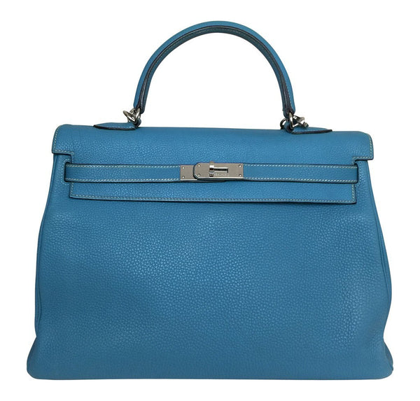 Hermes Kelly 35 Blue Jean Bag