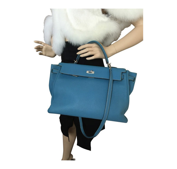 Hermes Kelly 35 Blue Jean Used overview