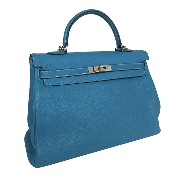 Hermes Kelly 35 Blue Jean Used side