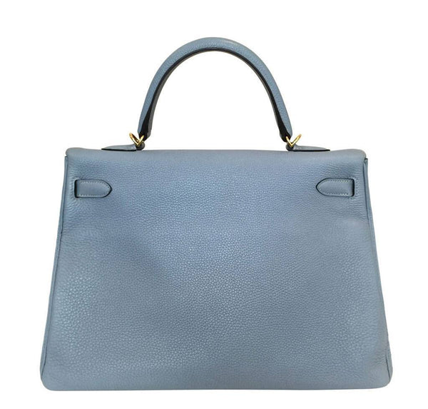 hermes kelly 35 blue lin used back