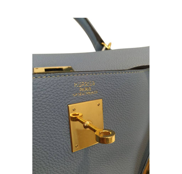 hermes kelly 35 blue lin used embossing