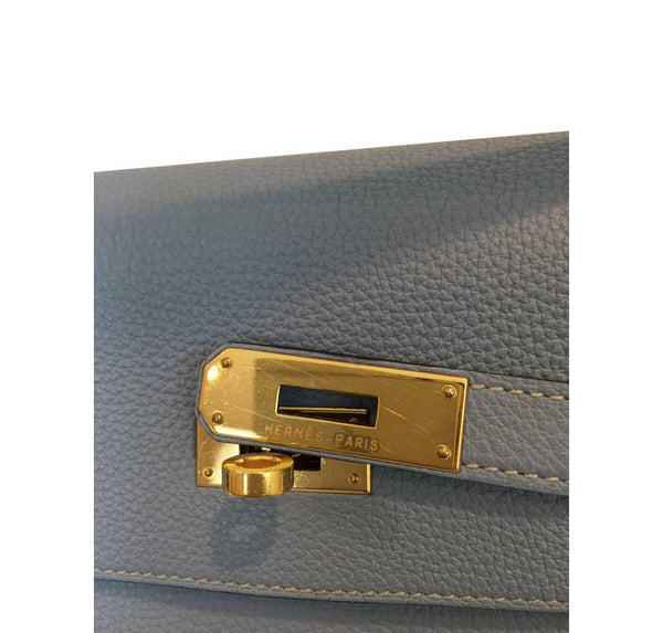hermes kelly 35 blue lin used engraving