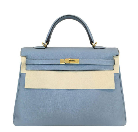 Hermes Kelly 35 Blue Lin Bag