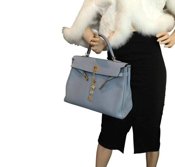 hermes kelly 35 blue lin used overview