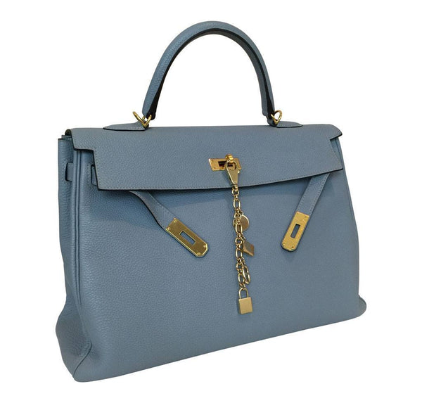 hermes kelly 35 blue lin used side open