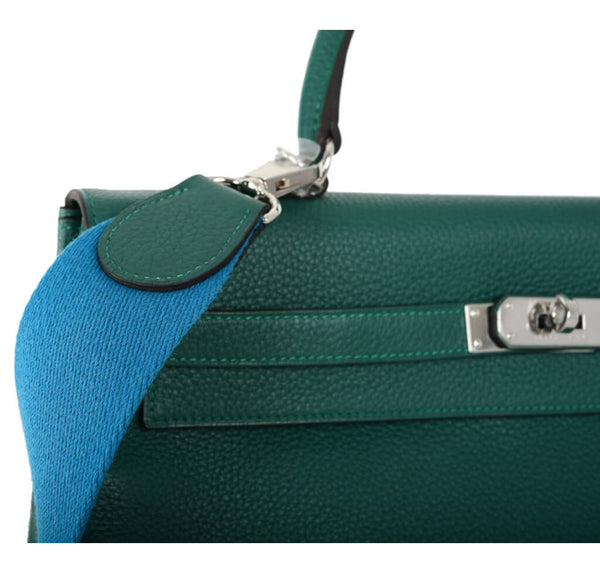Hermes Kelly Bag Malachite Canvas Strap