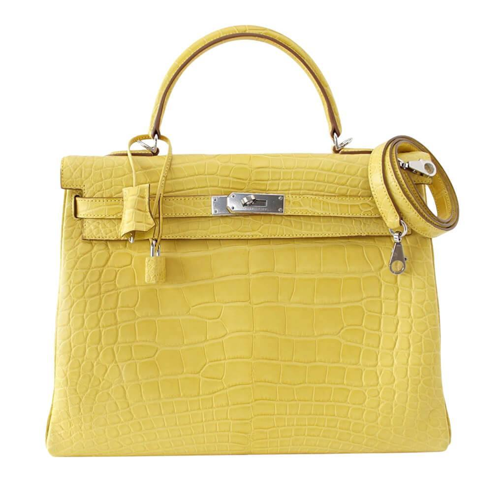 Hermès Kelly 35 Mimosa - Matte Alligator PHW  8cdc8b21fad32