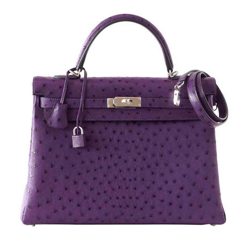 Hermes Kelly 35 Ostrich Violine Bag