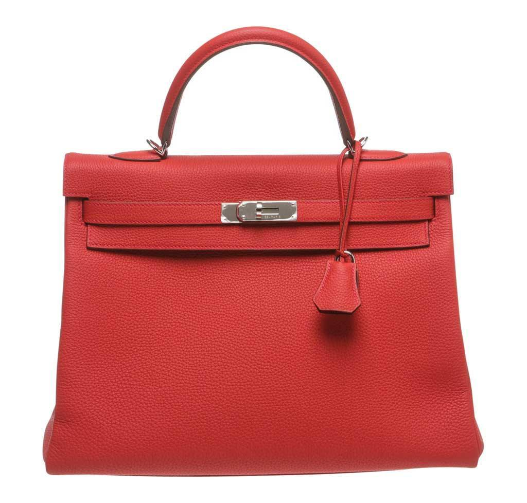 0a4559b049cf Hermès Kelly 35 Red - Togo Leather Palladium Hardware