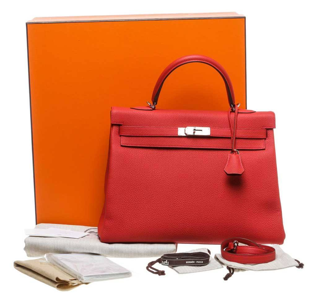 d1a6832e26fa Hermès Kelly 35 Red - Togo Leather Palladium Hardware