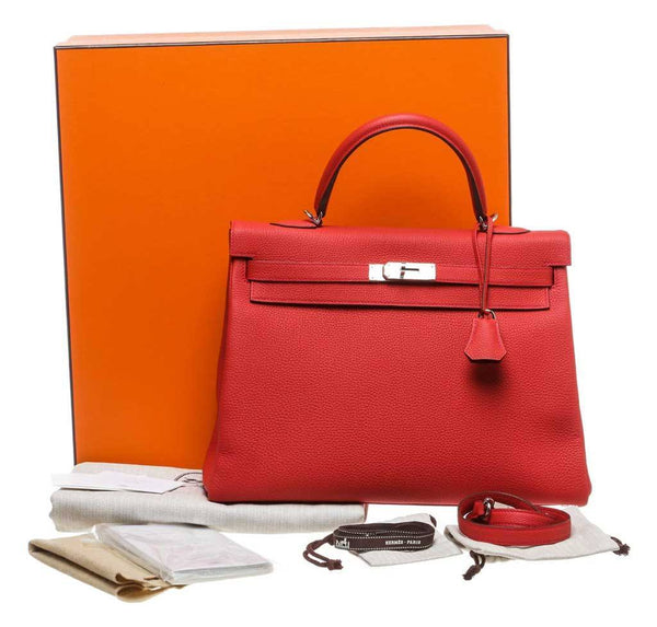 hermes kelly 35 red new complete