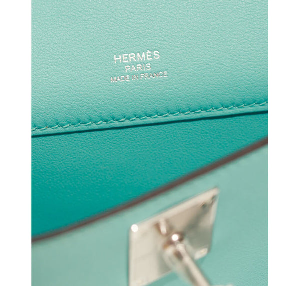 Hermes Kelly Cut Bag Blue Atoll