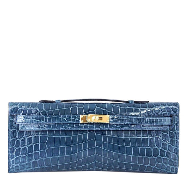 Hermes Kelly Cut Bag Blue Colvert