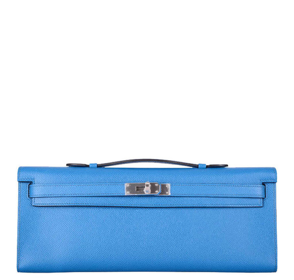 Hermes Kelly Cut Bag Blue Izmir