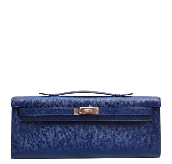 Hermes Kelly Cut Clutch Bag Blue
