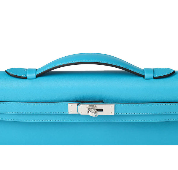 Hermes Kelly Cut Bag Turquoise Swift