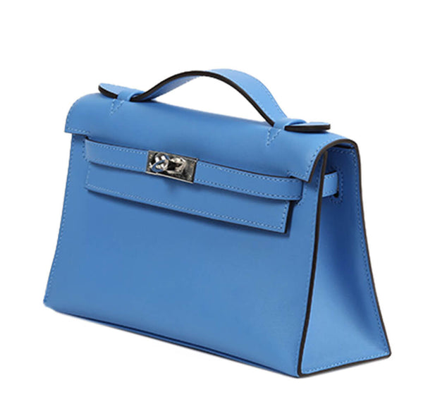 Hermes Kelly Pochette Bag Blue Swift