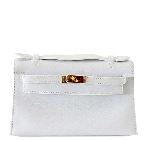 Hermes Kelly Pochette White Gold Hardware