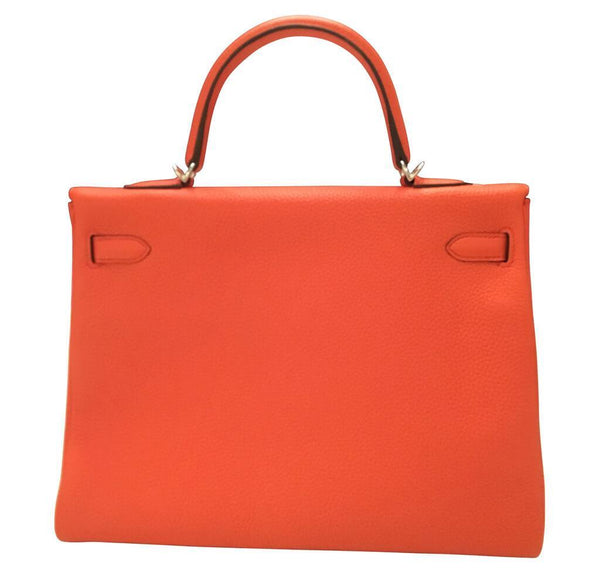 hermes kelly retourne 35 used orange poppy back