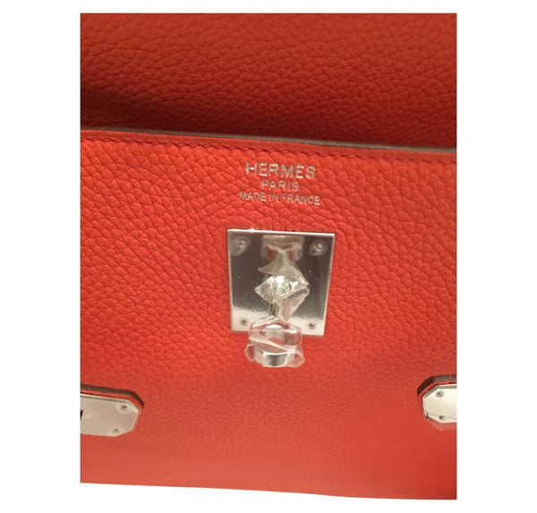 hermes kelly retourne 35 used orange poppy embossing