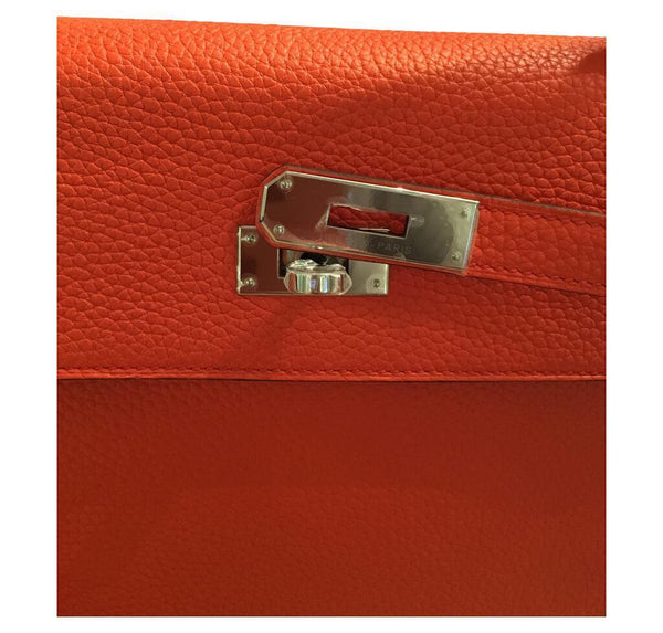 hermes kelly retourne 35 used orange poppy engraving