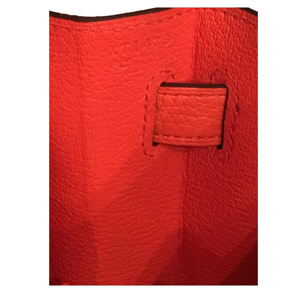 hermes kelly retourne 35 used orange poppy inside