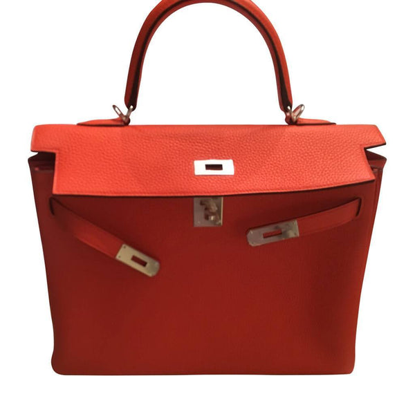 hermes kelly retourne 35 used orange poppy open