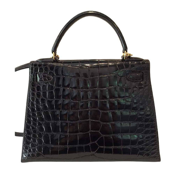 hermes kelly sellier 28 alligator ebene used back