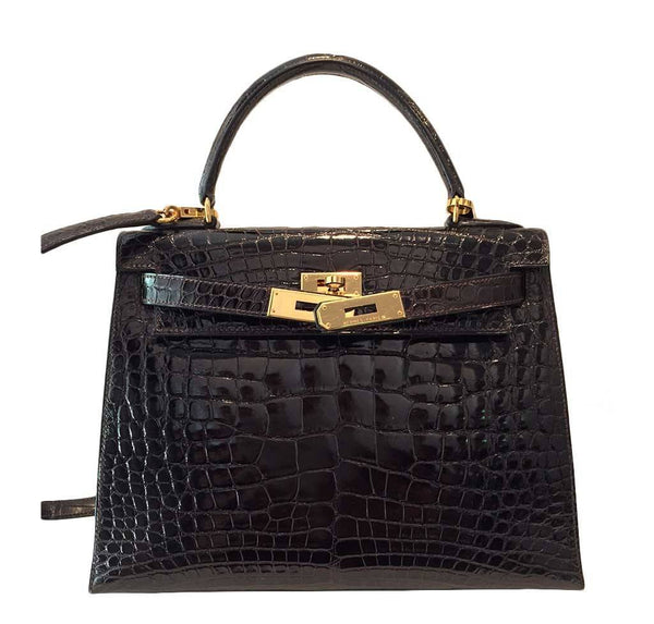 hermes kelly sellier 28 alligator ebene used front open