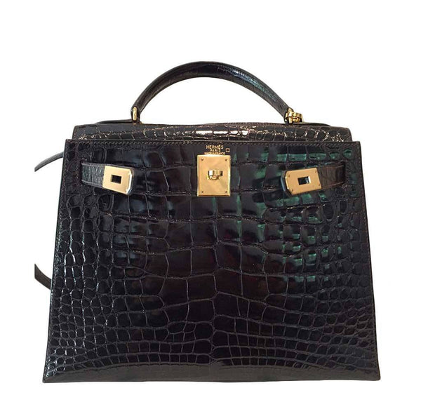 hermes kelly sellier 28 alligator ebene used open