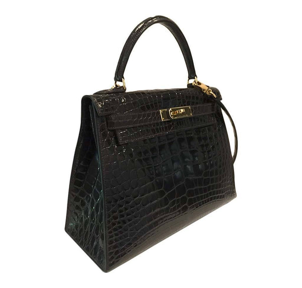 hermes kelly sellier 28 alligator ebene used side