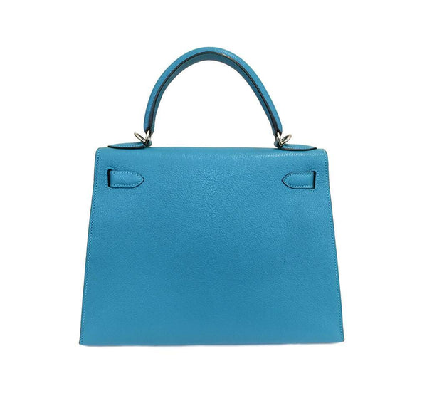 Hermes Kelly Sellier 28 Turquoise Used Back