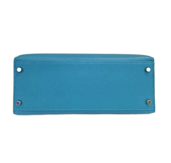 Hermes Kelly Sellier 28 Turquoise Used Bottom