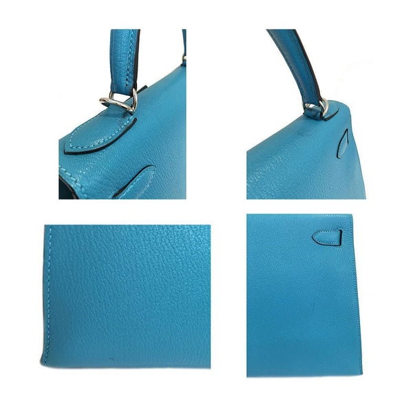 Hermes Kelly Sellier 28 Turquoise Used Details