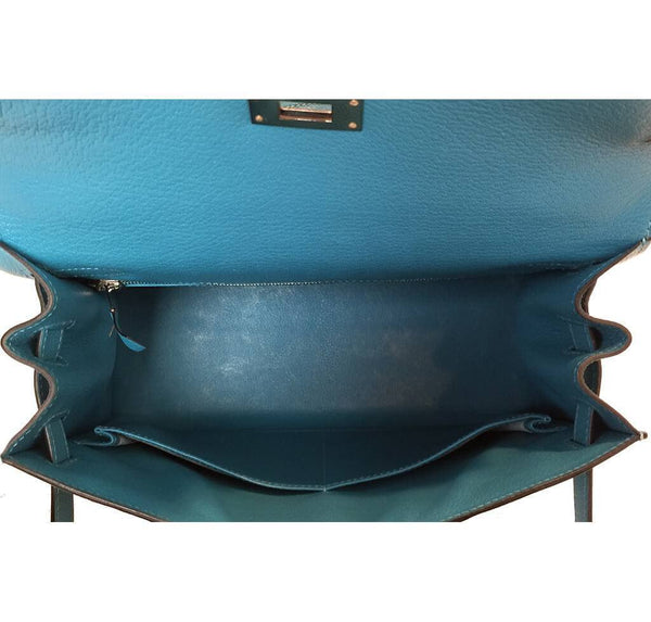 Hermes Kelly Sellier 28 Turquoise Used Interior