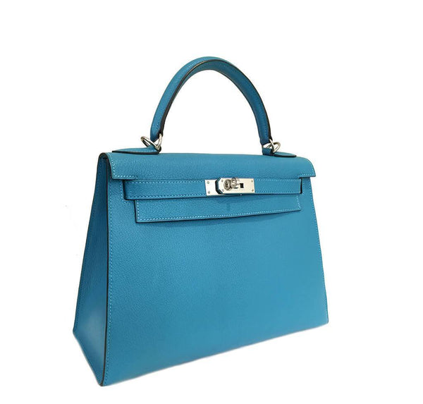 Hermes Kelly Sellier 28 Turquoise Used Side
