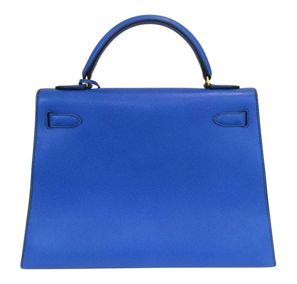 hermes kelly sellier 32 blue france used back