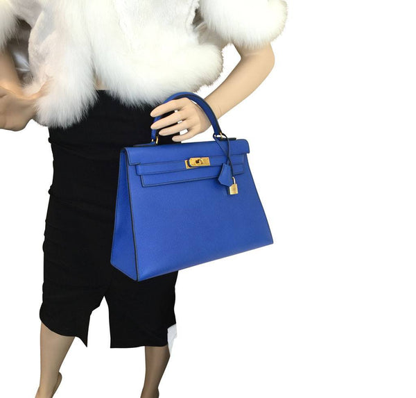 hermes kelly sellier 32 blue france used overview