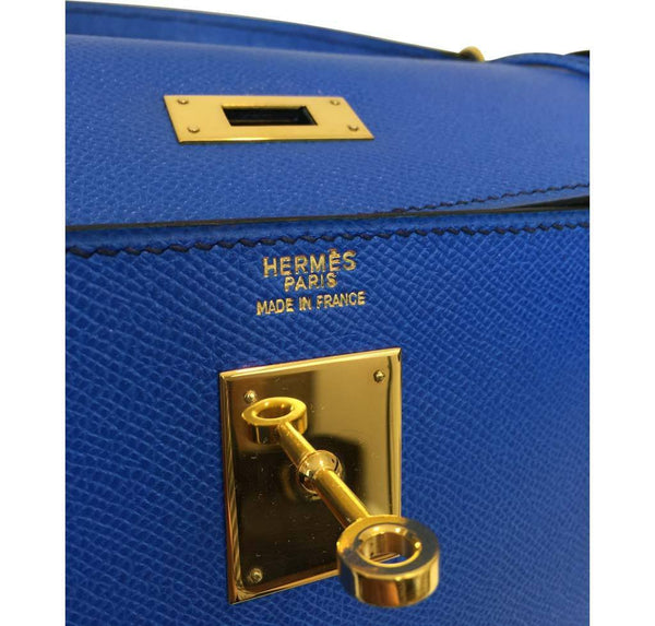 hermes kelly sellier 32 blue france used embossing