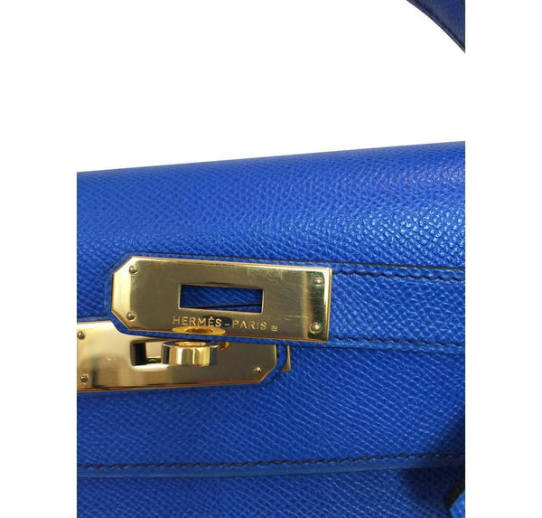 hermes kelly sellier 32 blue france used engraving