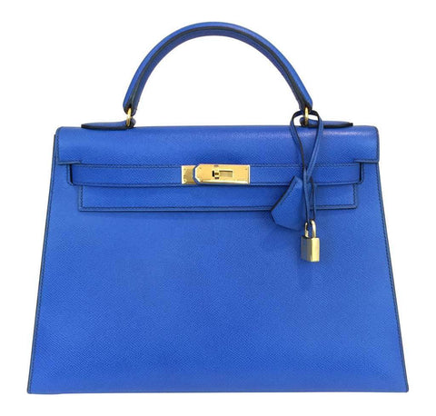 Hermes Kelly Sellier Blue France Bag