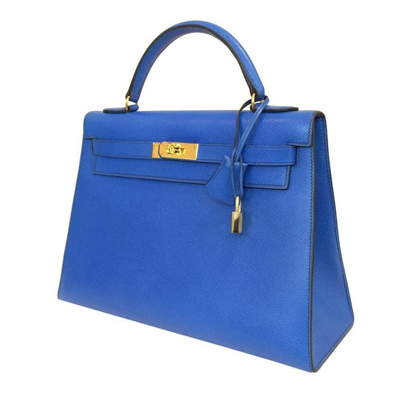 hermes kelly sellier 32 blue france used side