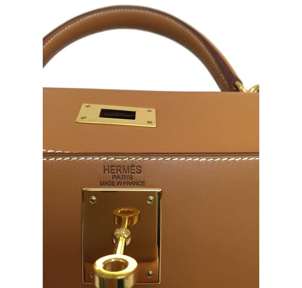 Hermes Kelly Sellier Gold Used Embossing