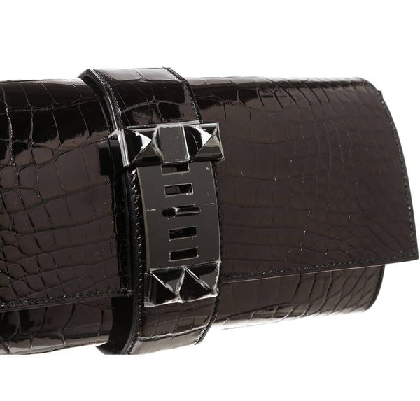 Hermes Medor Clutch 23 Alligator Black New Detail