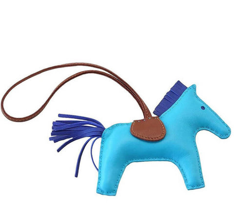 Hermes Rodeo Horse Bag Charm Blue