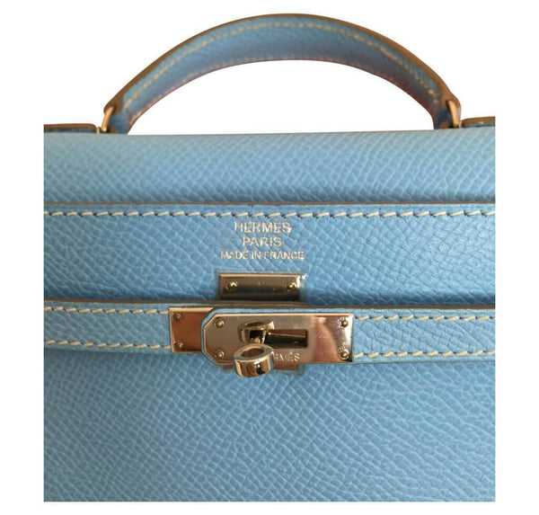 hermes tiny kelly blue paradise used embossing