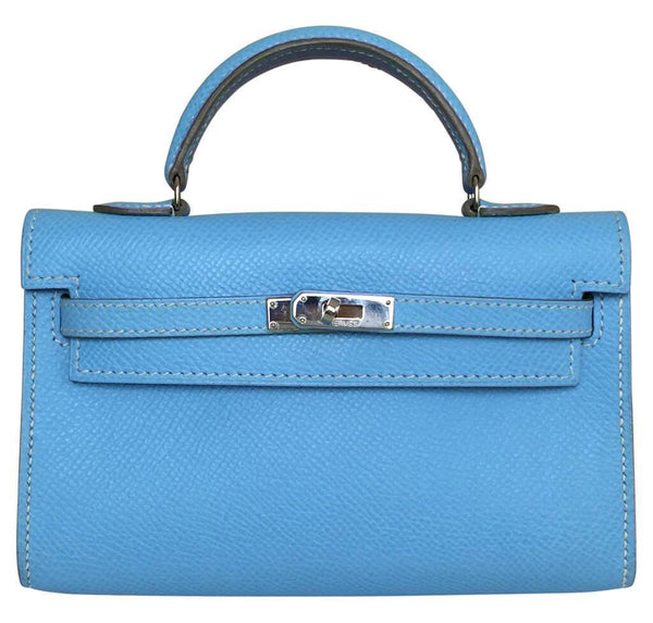 Hermes Tiny Kelly Blue Celeste Epsom