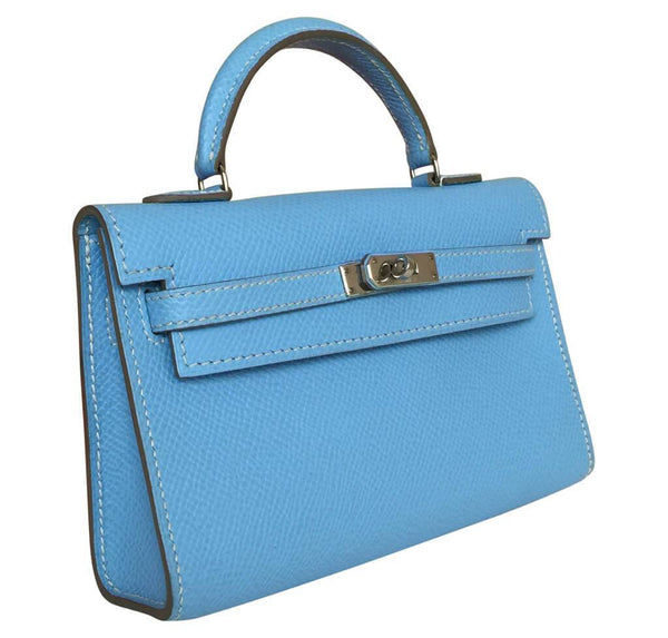 hermes tiny kelly blue paradise used side