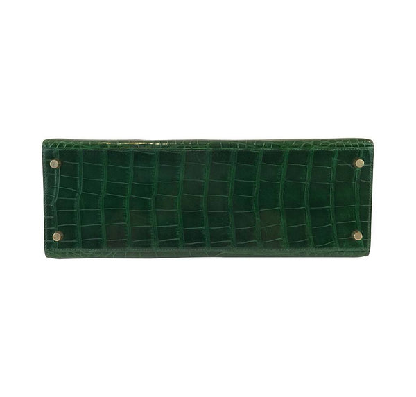 hermes kelly sellier 35 vert emerald used bottom